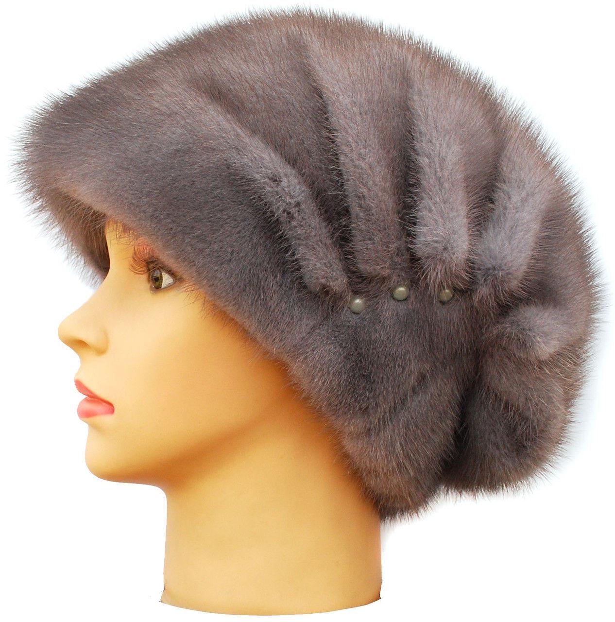 Норковая женская шапка Ника серая