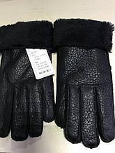 Перчатки чёрные женские и подросток из натуральной овчины с покрытием