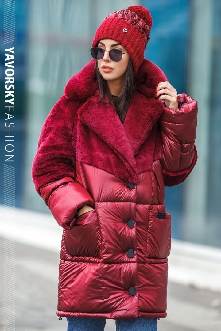 Бордовая куртка плащевая ткань + эко мех кролика S/M, L/XL