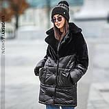 Бордовая куртка плащевая ткань + эко мех кролика S/M, L/XL, фото 4