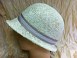 Летняя шляпа с маленькими ассиметричными полями из соломки, фото 4