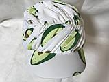 Бандана-шапка-косынка с козырьком и объёмной драпировкой цвет  белый, фото 2