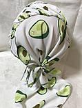 Бандана-шапка-косынка с козырьком и объёмной драпировкой цвет  белый, фото 4