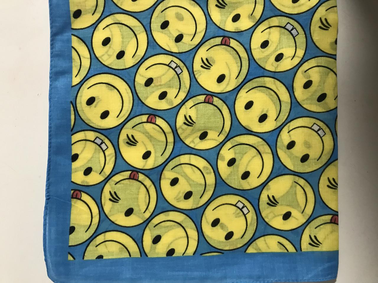 Бандана (платок) хлопок цвет голубой с желтым с рисунком