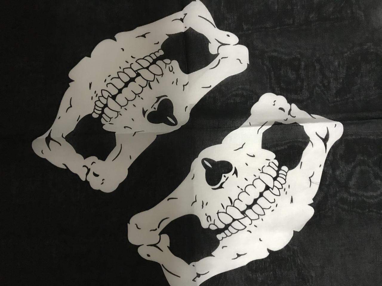 Бандана -платок чёрная хлопок  с рисунком череп