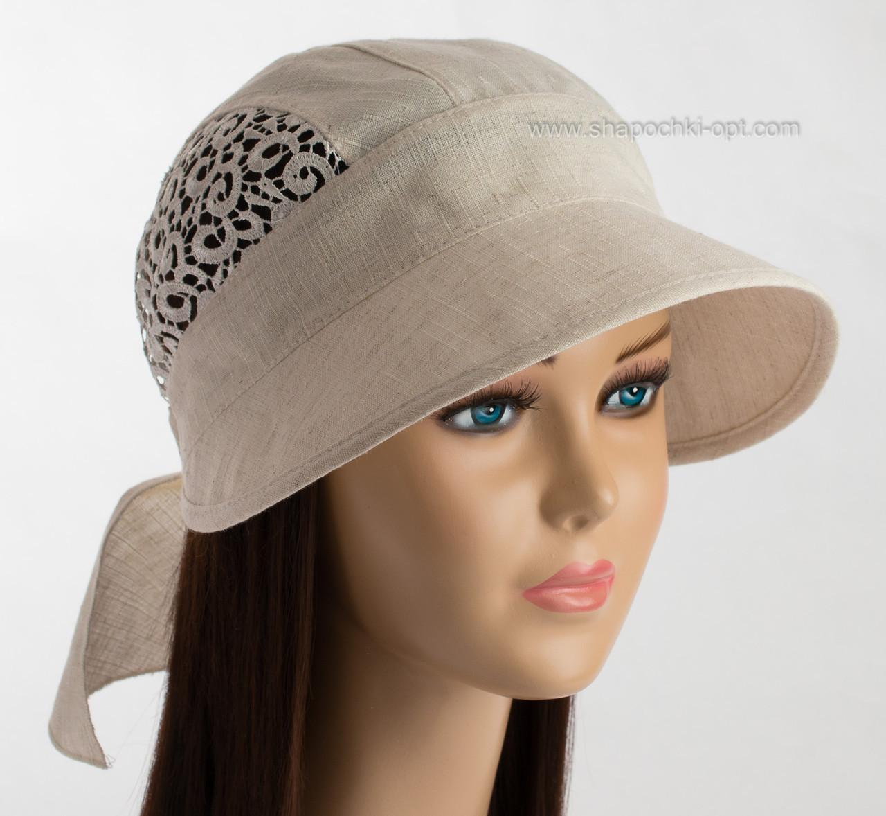 Льняная шляпка козырек с кружевным плетением с завязками сзади