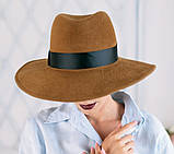 Шляпа из фетра мужского стиля цвет ярко синий поля 10 см, фото 3