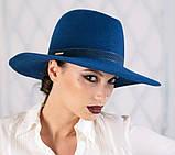 Шляпа из фетра мужского стиля цвет красный поля 10 см, фото 2