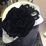 Оригінальний капелюшок з фетру колір білий з прикрасою, фото 4