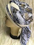 Серая с бежевым летняя  бандана-косынка хлопковая с объёмной драпировкой, фото 5