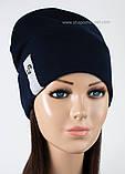 Женская шапка с отворотом только  черная, фото 2