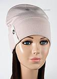 Женская шапка с отворотом только  черная, фото 3