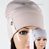 Женская шапка с отворотом только  черная, фото 4