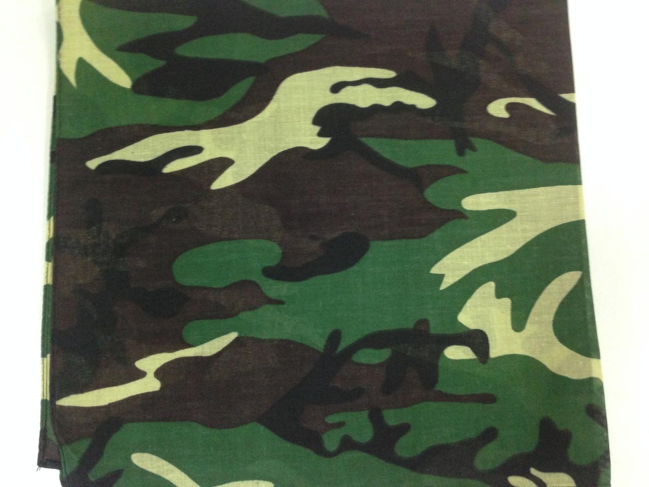 Летняя хлопковая бандана платок с рисунком камуфляж зелёный