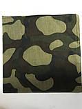 Летняя хлопковая бандана платок с рисунком камуфляж зелёный, фото 2