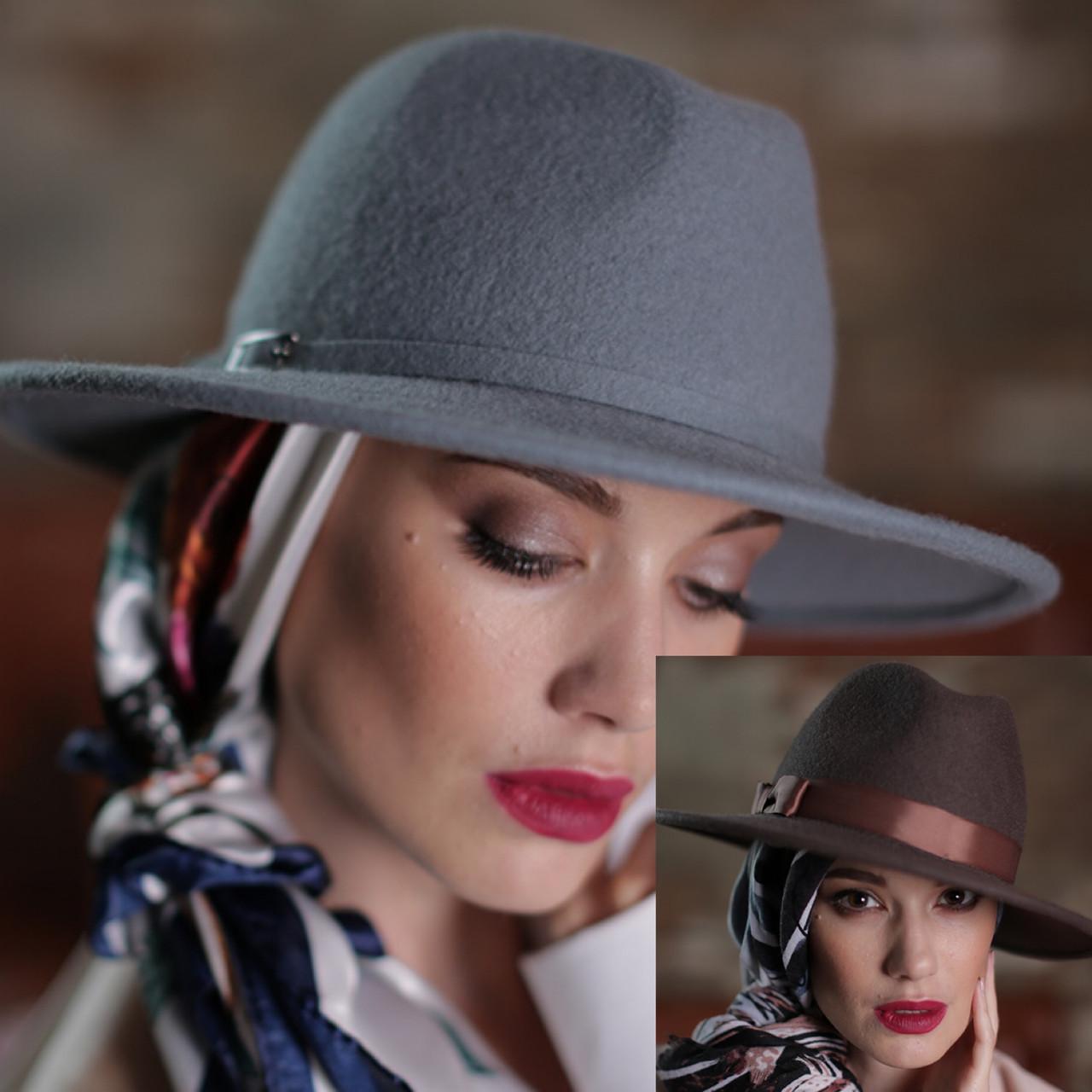 Женская фетровая шляпа под мужской стиль 55-59 см поля 7 см цвет под заказ