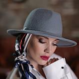 Женская фетровая шляпа под мужской стиль 55-59 см поля 7 см цвет под заказ, фото 2