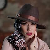 Женская фетровая шляпа под мужской стиль 55-59 см поля 7 см цвет под заказ, фото 3