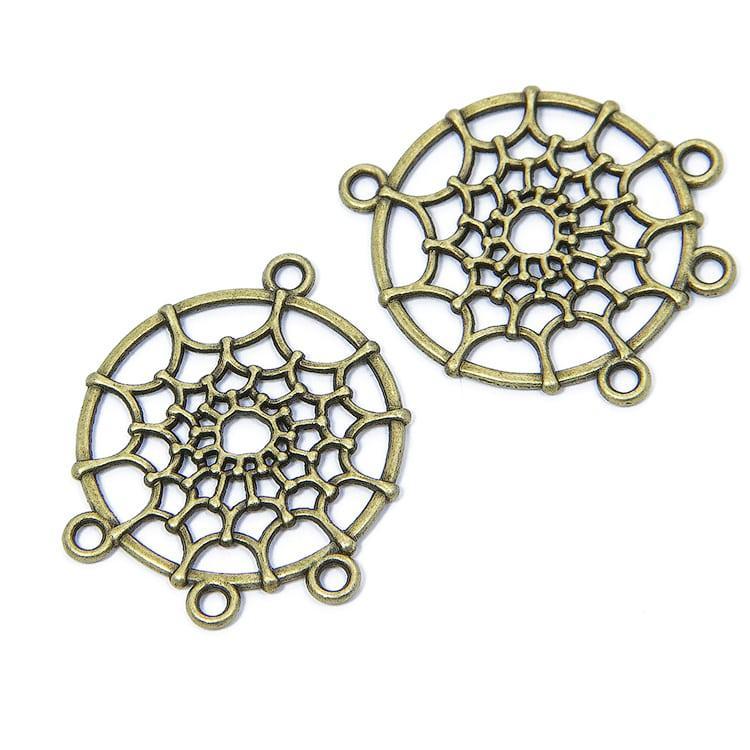 Коннектор круглый Паутинка цвет серебро, бронза, размер: 34х28х2мм, 1 уп - 2 шт \ Sf - 028207-06814 Античная бронза