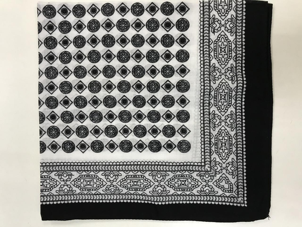 Хлопковая белая с чёрным бандана с геометрическим рисунком