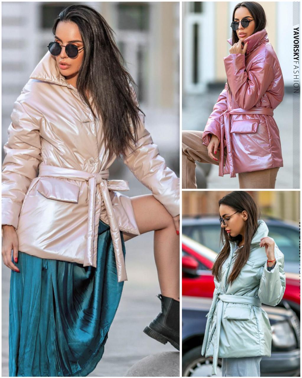 Куртка-пиджак из перламутровой плащевки Размеры: S, M.