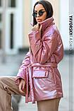 Куртка-пиджак из перламутровой плащевки Размеры: S, M., фото 4