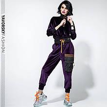 Спортивный молодежный костюм  размеры: S/M, L/X Lцвет фиолетовый с черным