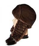 Модная зимняя шапка ушанка женская плетенное ухо Цвет орех, фото 2