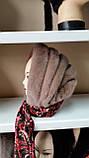 Женская норковая косынка цвет светло коричневая, фото 2