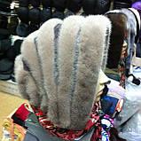 Женская норковая косынка цвет светло коричневая, фото 4