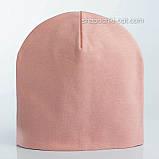 Удлиненная  шапочка из хлопкового трикотажа в спортивном стиле 52-56 см цвет розовый белый красный, фото 4
