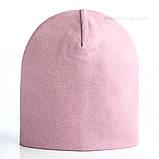 Удлиненная  шапочка из хлопкового трикотажа в спортивном стиле 52-56 см цвет розовый белый красный, фото 5