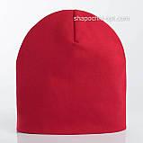 Удлиненная  шапочка из хлопкового трикотажа в спортивном стиле 52-56 см цвет розовый белый красный, фото 7
