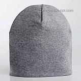 Удлиненная  шапочка из хлопкового трикотажа в спортивном стиле 52-56 см цвет розовый белый красный, фото 9