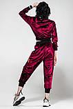 Велюровый спортивный молодежный костюм размеры: S/M, L/X Lцвет малиновый, фото 2