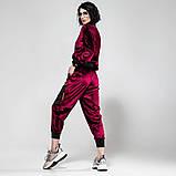 Велюровый спортивный молодежный костюм размеры: S/M, L/X Lцвет малиновый, фото 3