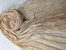 Шарф шелковый с атласом  жатка цвет бежевый