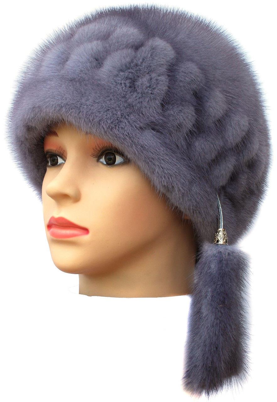 """Норковая  шапка модель """"конфетка резаная 2 ряда """""""
