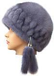 """Норковая  шапка модель """"конфетка резаная 2 ряда """", фото 2"""