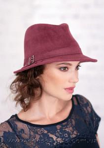 Шляпа  из  фетра с маленькими полями под мужской стиль  поля 5.5 см
