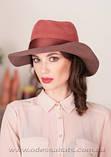 Шляпа из фетра мужского стиля цвет бордовый с серым, фото 2