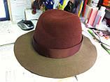 Шляпа из фетра мужского стиля цвет бордовый с серым, фото 3