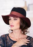 Шляпа из фетра мужского стиля цвет бордовый с серым, фото 4