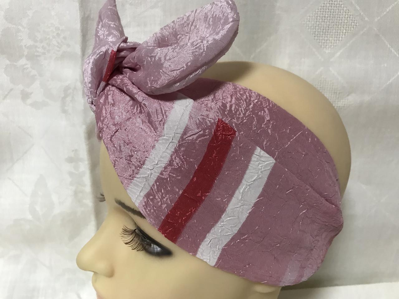 Двухсторонняя розовая повязка Солоха -узелок из двух полос с съёмным бантом