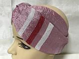 Двухсторонняя розовая повязка Солоха -узелок из двух полос с съёмным бантом, фото 4