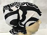 Косынка повязка Солоха на резинке цвет белый с чёрным, фото 8