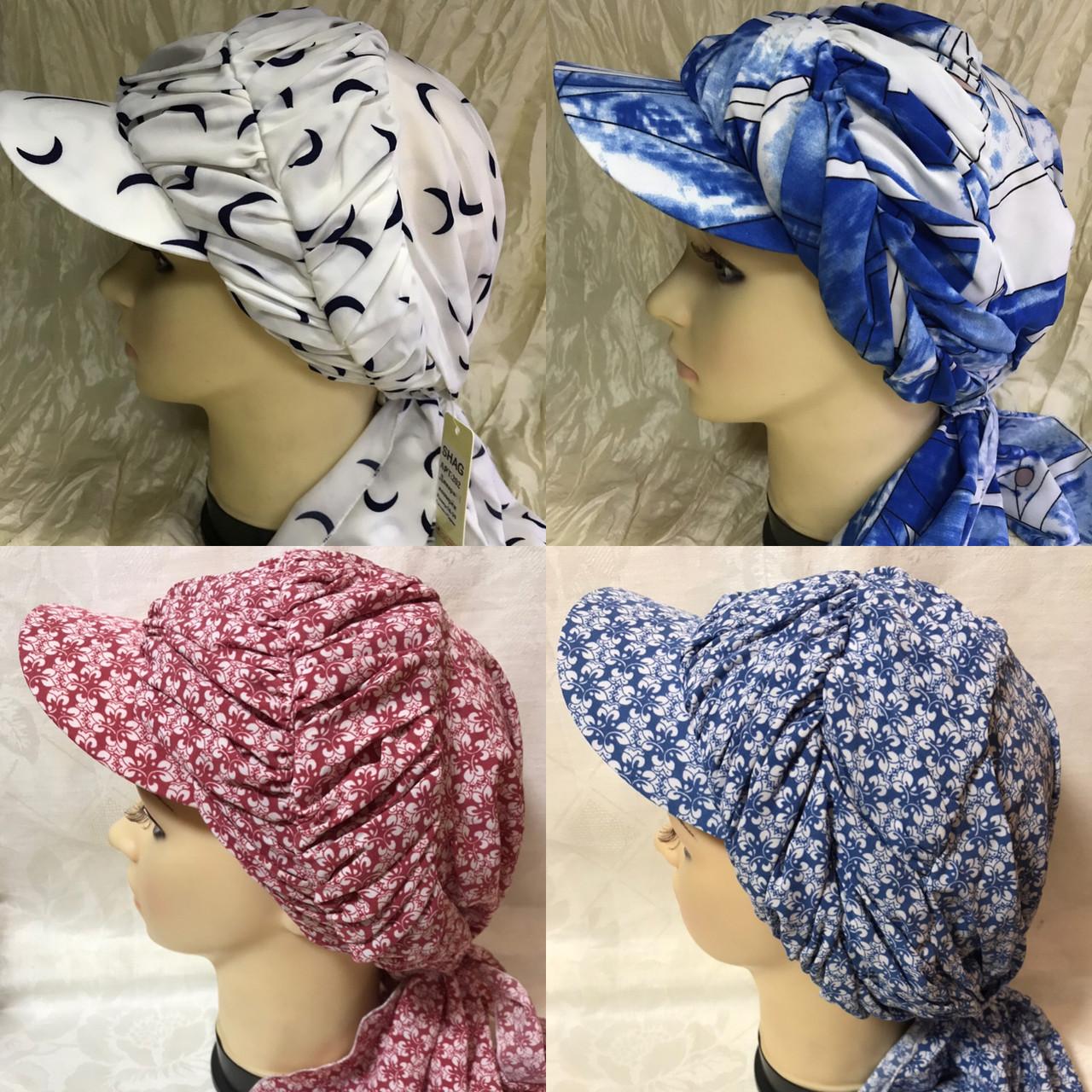 Бандана-шапка-косынка  с козырьком и объёмной драпировкой