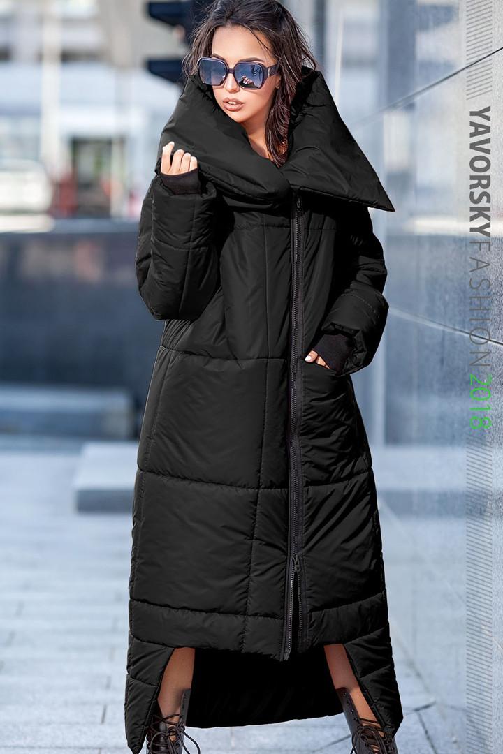 Пуховик-Одеяло «Клайд с большим воротником цвет черный