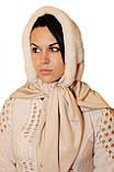 Женская косынка  из натуральной норки  белая, фото 2