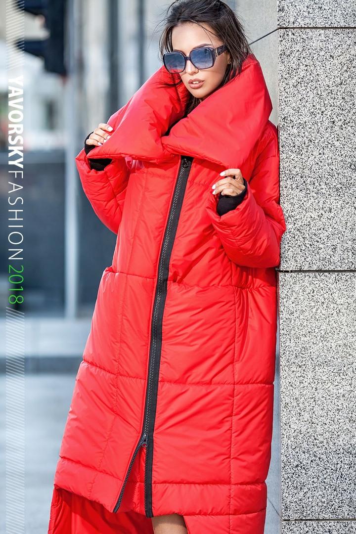 Пуховик-Одеяло «Клайд с большим воротником цвет красный
